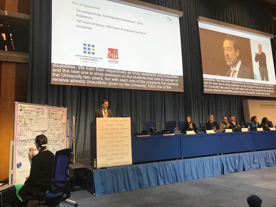 El coordinador de U4INCLUSION durante su intervención en la Conferencia Internacional Zero Project